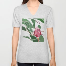 Printed Protea Flower in Pinks and Greens Unisex V-Neck