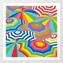 Beach Umbrellas, Bright and Colorful Art Print