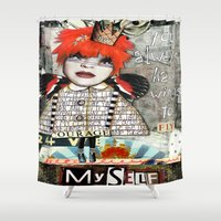 """courage Shower Curtains featuring """"Courage"""" by Crow's Feet Designs2"""