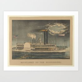 Moonlight on the Mississippi , Lithographed and published by Currier & Ives Art Print