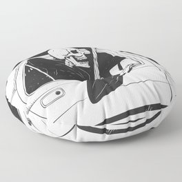 Passenger taxi grim - black and white - gothic reaper Floor Pillow