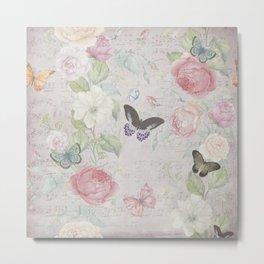 Candy's Butterfly-Flower Pattern Metal Print