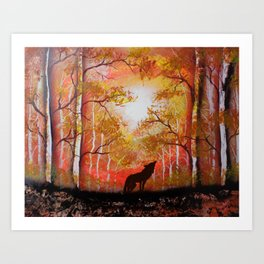 Howling Into The Woods Art Print
