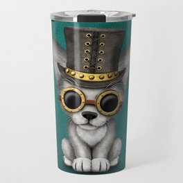 Steampunk Baby Wolf Cub on Blue Travel Mug