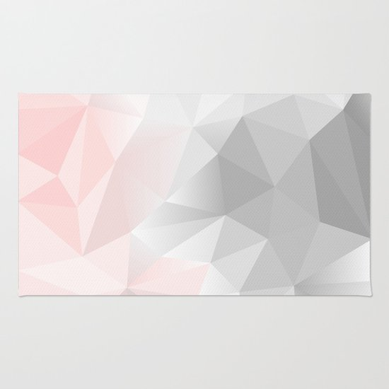 Pink And Gray Geometric Low Poly Background Rug By Artsimo