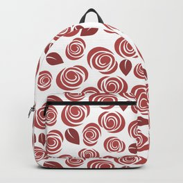 Deep Red Floral Pattern Backpack
