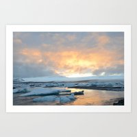 iceland Art Prints featuring iceland by katie moon