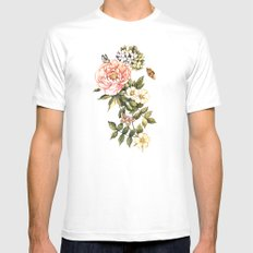 Vintage floral watercolor background Mens Fitted Tee White MEDIUM