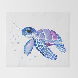 Blue Purple Sea Turtle, Turtle for nursery Throw Blanket
