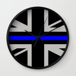 Police: British Flag & The Thin Blue Line Wall Clock