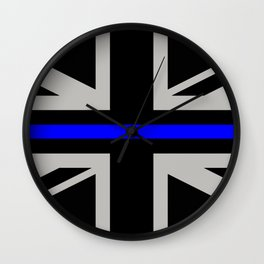 Police: British Flag & The Thin Blue Line Wall Clock