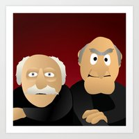 muppets Art Prints featuring Statler & Waldorf - Muppets Collection by Bryan Vogel