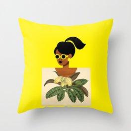 Ponytail Girl with Nature Shirt Throw Pillow