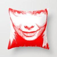 bjork Throw Pillows featuring BJORK by Andhika Tile