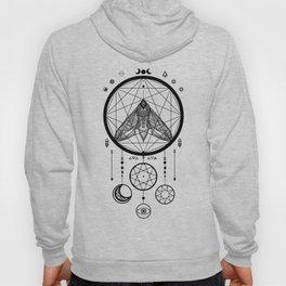 Wiccan and Pagan Moth Sacred Geometry Moon Dreamcatcher Hoody