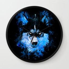 husky dog face splatter watercolor blue Wall Clock
