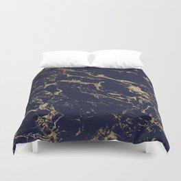 Modern luxury chic navy blue gold marble pattern Duvet Cover
