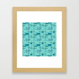 Intersecting Lines in Mint and Blues Framed Art Print