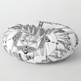 Vacuoles - Black and White Floor Pillow