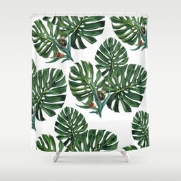 Monstera leaf with snails Shower Curtain
