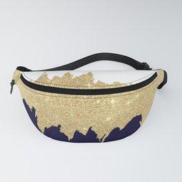 Modern navy blue white faux gold glitter brushstrokes Fanny Pack