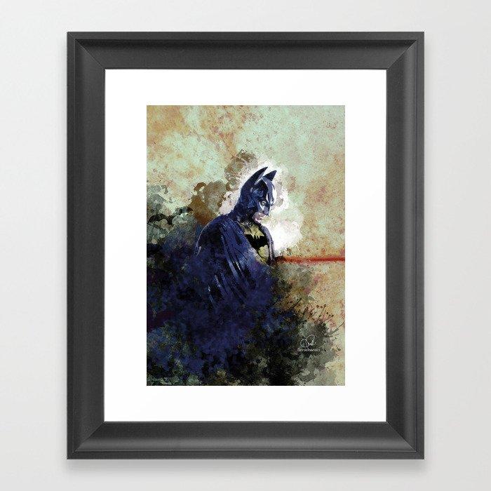 Knight of Dark and bat - Daniela Mela Framed Art Print