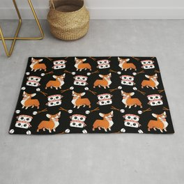Cute cuddly funny baby corgi dogs, happy cheerful sushi with shrimp on top, rice balls and chopsticks pretty black pattern design. Rug