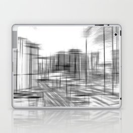 pencil drawing buildings in the city in black and white Laptop & iPad Skin