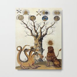 3 Headed Dragon and Lion - Garden of Beasts Collection Metal Print