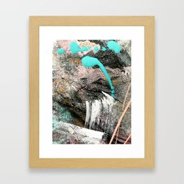 (Un)Tamed [2]: a vibrant, colorful abstract piece in pink, teal, black and white Framed Art Print