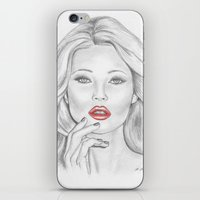 kate moss iPhone & iPod Skins featuring Kate Moss by Kim Jenkins