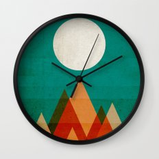 Full moon over Sahara desert Wall Clock