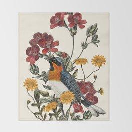 Little Bird and Flowers Throw Blanket
