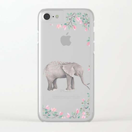 Beautiful Elephant with flowers on dots backround Clear iPhone Case