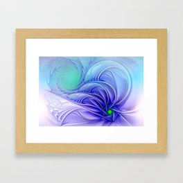 centered, turquoise and blue Framed Art Print