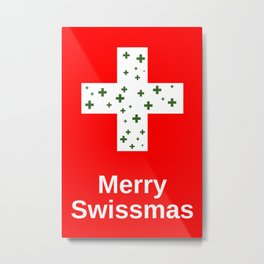 Merry Swissmas Christmas Holiday Cheer for Lovers of the Swiss and Switzerland Metal Print