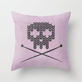 Knitted Skull (Black on Pink) Throw Pillow