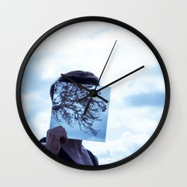 Clouded sky reflection Wall Clock