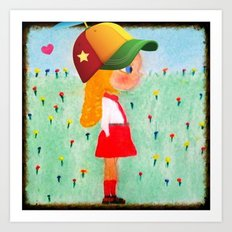 Fashionista Gabby with Hat and Heart Art Print