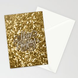 Glitter Gold Xmas Stationery Cards