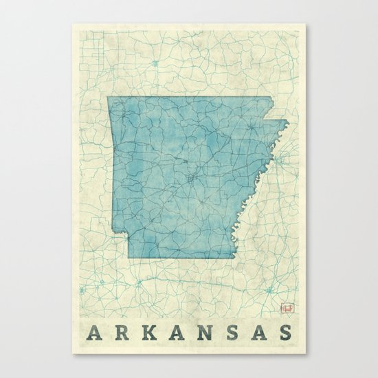 Arkansas State Map Blue Vintage Canvas Print