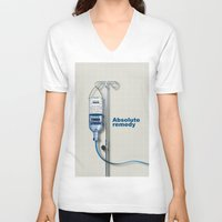 vodka V-neck T-shirts featuring Vodka remedy by Tony Vazquez