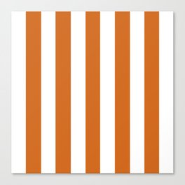 Chocolate (web) orange - solid color - white vertical lines pattern Canvas Print