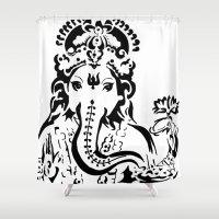 ganesh Shower Curtains featuring Ganesh by ShivaR