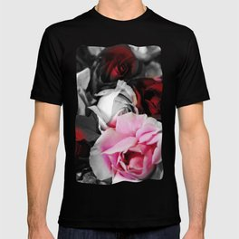 Black and White Roses Fade to Pink and Red T-shirt