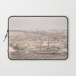 Vintage Pictorial Map of New Bern NC (1864) Laptop Sleeve