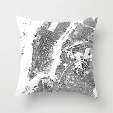 New York Map Schwarzplan Only Buildings Throw Pillow
