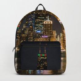 Chicago North Shore Skyline Night Backpack