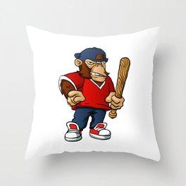 Gorilla Holding Softball Hitting Stick Throw Pillow