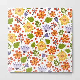 Sunshine yellow lavender orange abstract floral illustration Metal Print